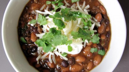 Beef and Bean Chili with Lime and Cilantro
