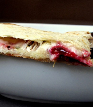Turkey Quesadillas with Cranberry Sauce and Brie