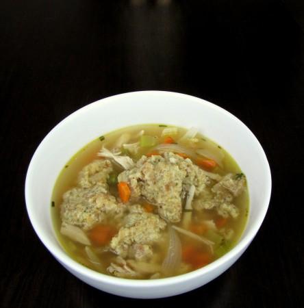 Leftover Turkey Soup with Stuffing Dumpling