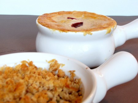 Turkey Pot Pie with Gravy, Stuffing and Cranberry Sauce